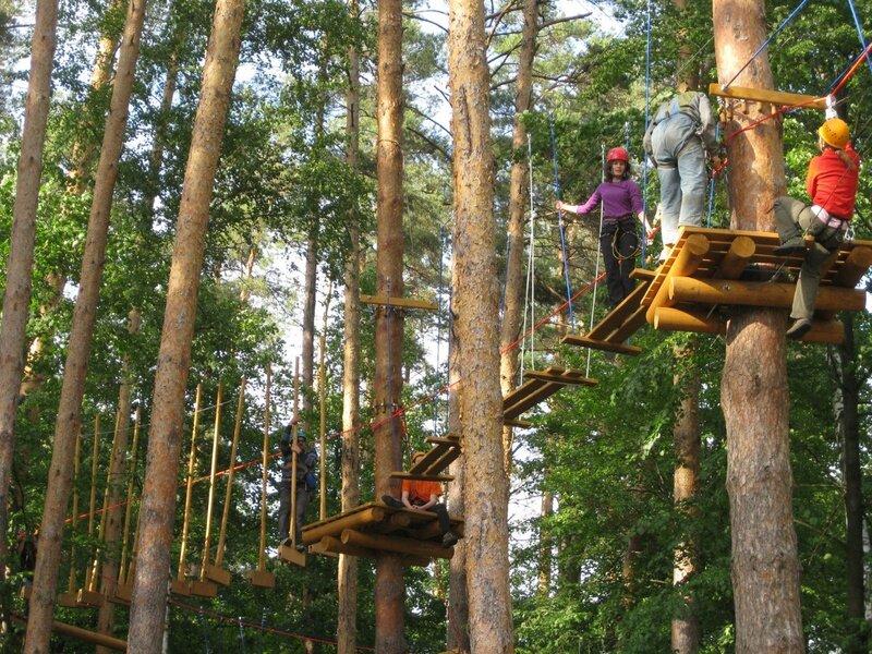 Sky Park — это захватывающие веревочные конструкции, возвышающиеся на 8 метров над землей.