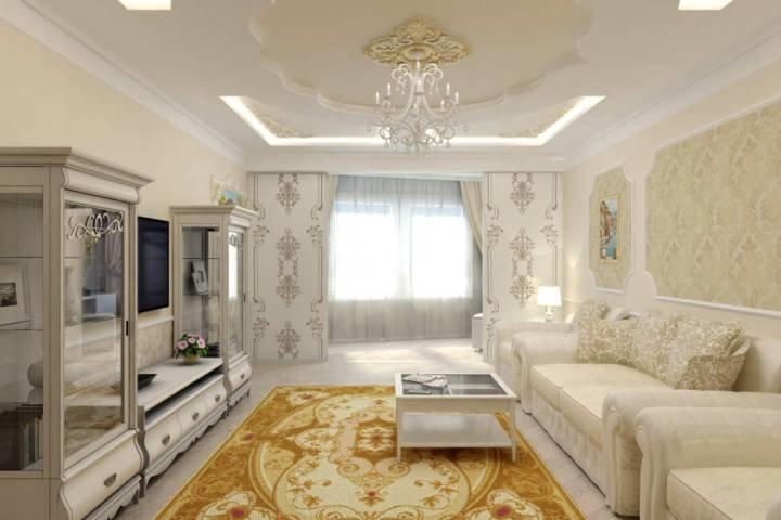 Белый зал оттеняет ковер в цвете золота