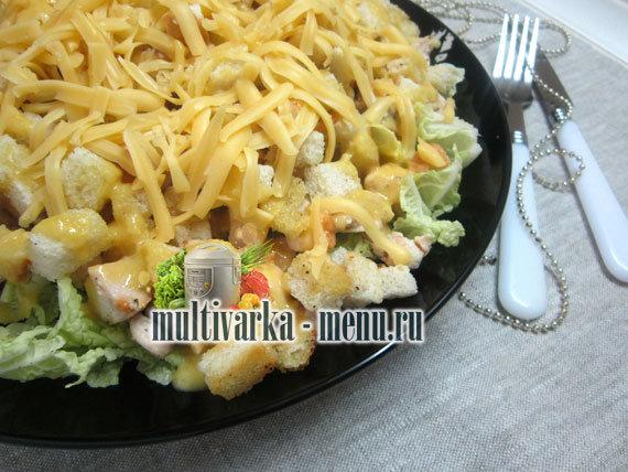 Цезар з куркою и пармезаном салат фото рецепт