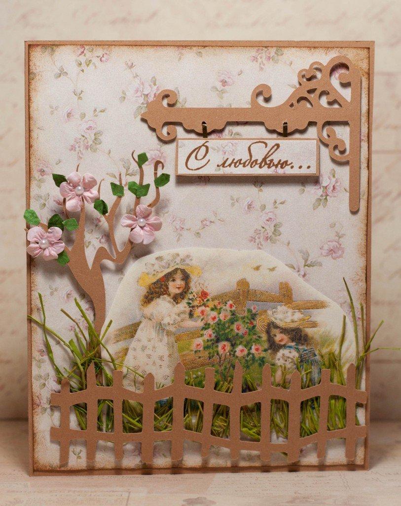 Заказ надписями, открытка сад скрапбукинг