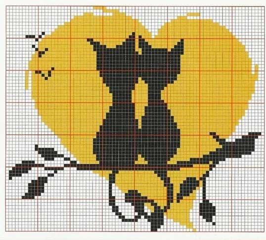Вышивка коты с сердце