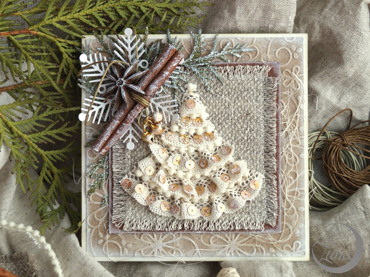 Новогодняя ароматная открытка, ленточек
