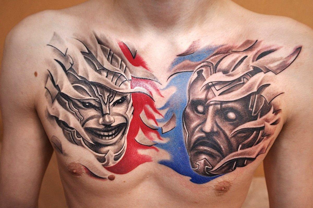 социальных сетях фото театральных масок для тату давая