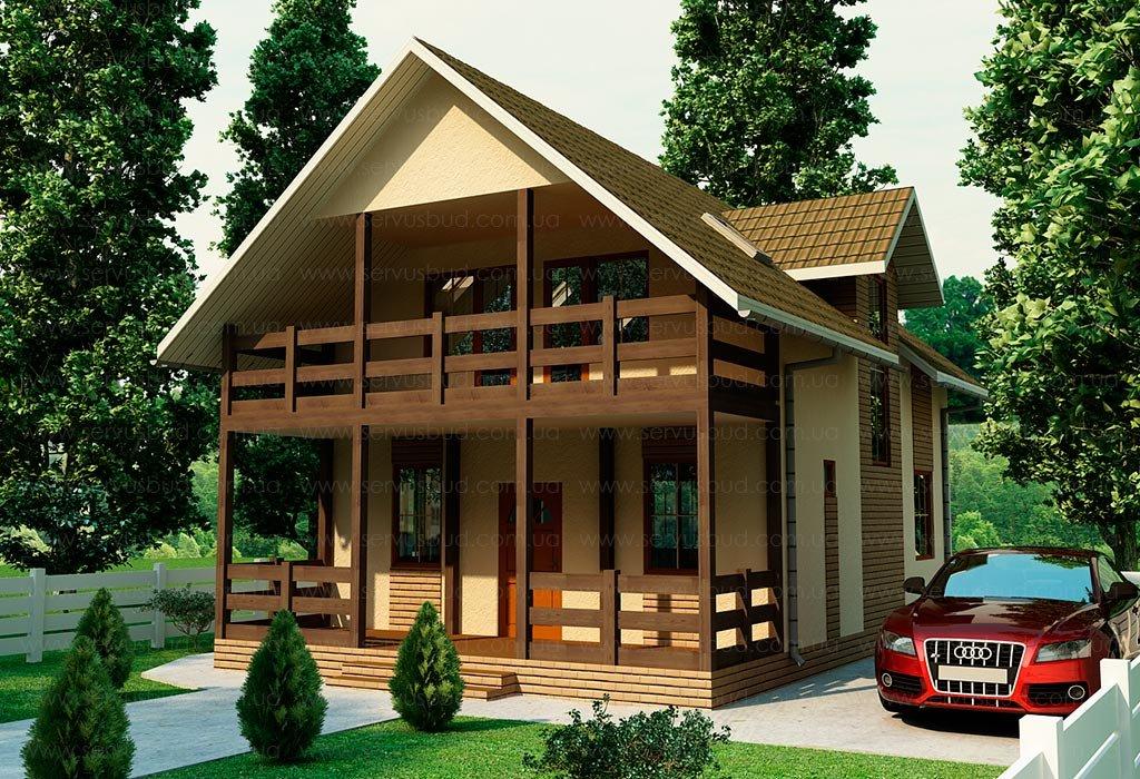 Двухэтажный дом с большой террасой и удобной планировкой, ид.