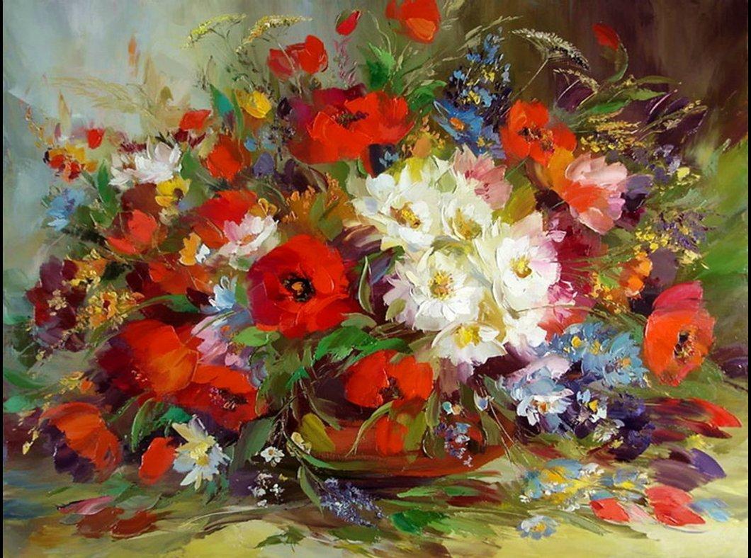 Художественные картинки цветов, открытки
