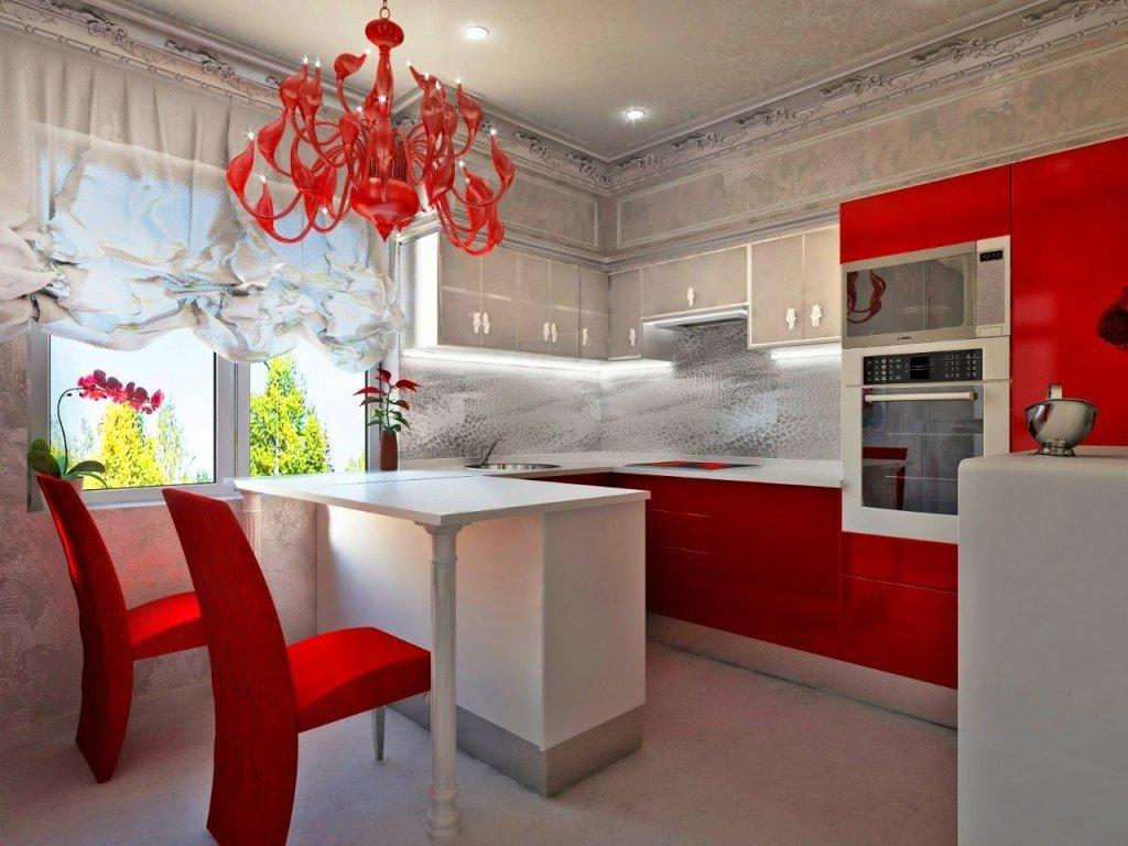 Картинки красной кухни с обоями