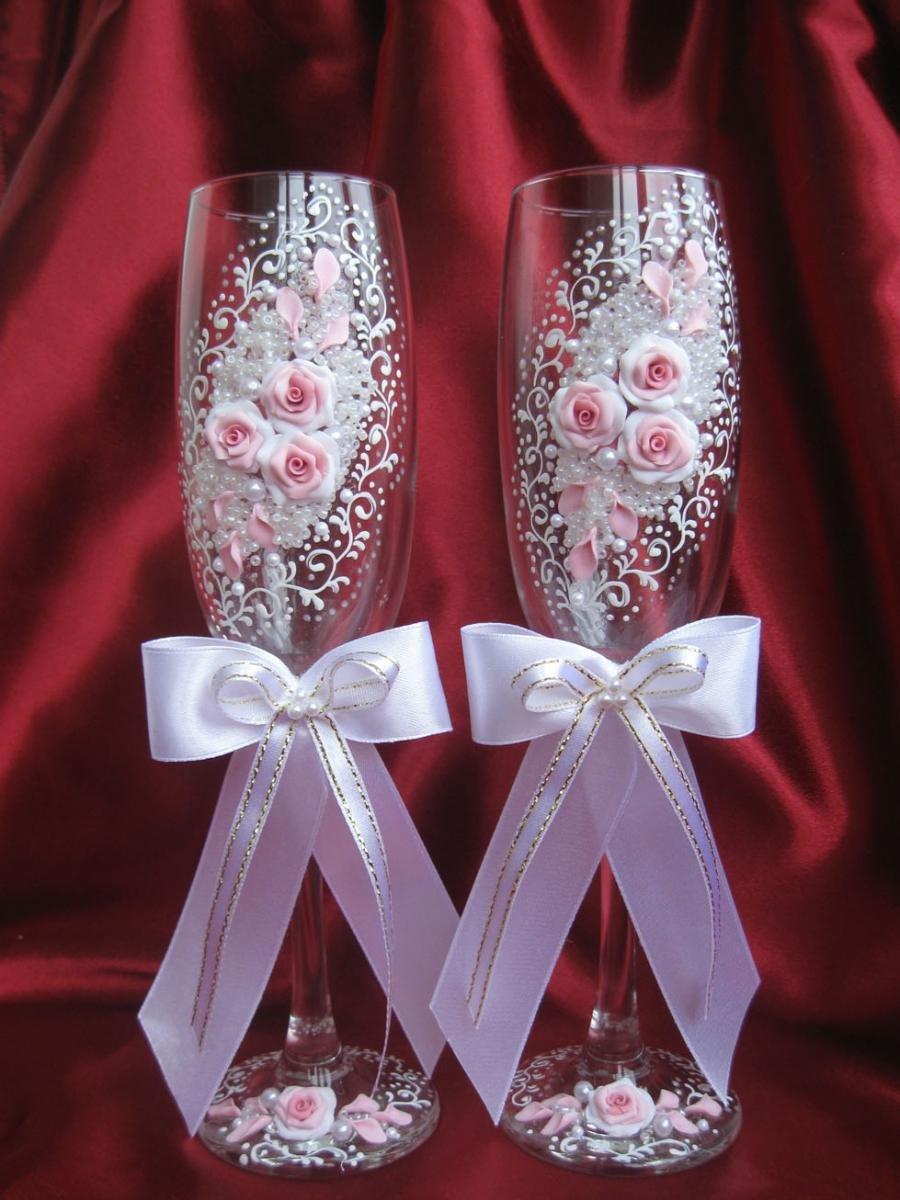 фото бокалов на свадьбу ручной работы такая молодая красивая