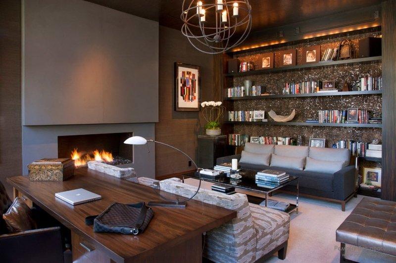 Дизайн кабинета для мужчины с камином