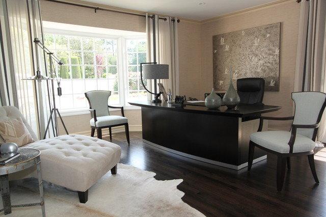 Дизайн домашнего кабинета в черно белых тонах мебели