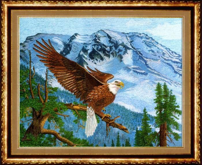Вышивка орла гладью