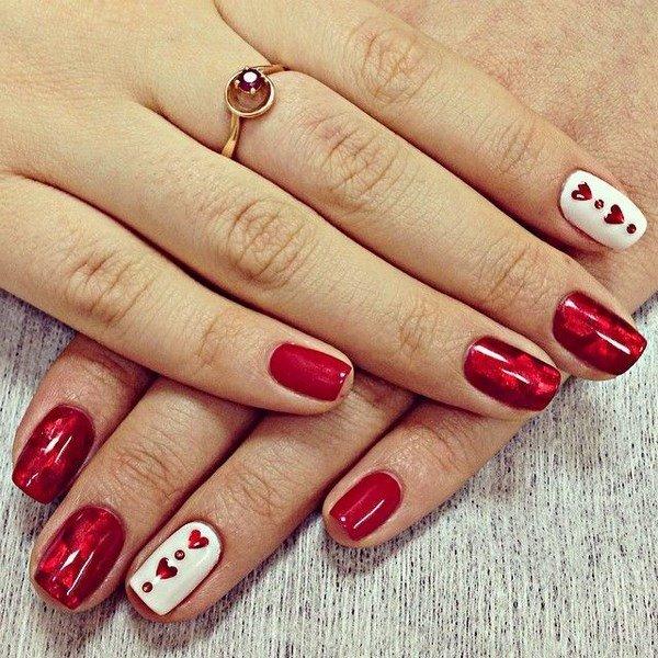 Маникюр бордовый на короткие ногти 2017