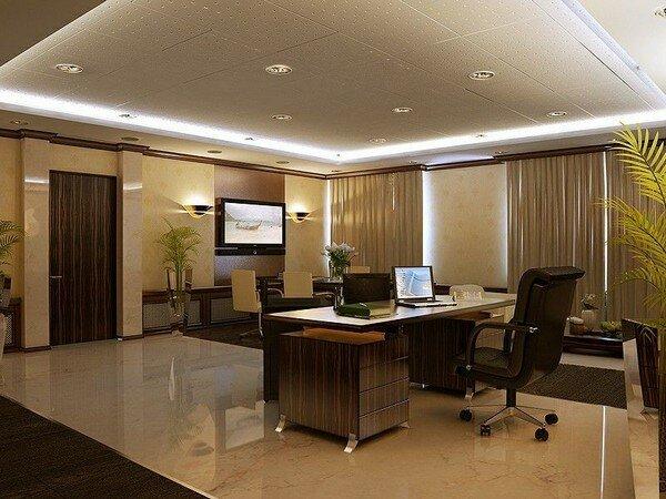 дизайн кабинета с припотолочным точечным освещением