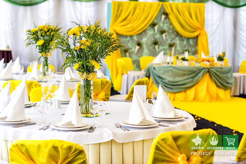Яркая сине-жёлтая свадьба 76