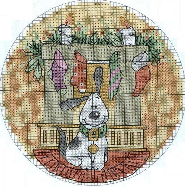 Шикарная схема для вышивки Новогодней тематики.