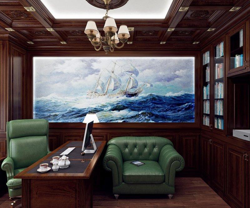 Мужественно-темное исполнение кабинета, не яркая зеленая мебель, на стене картина с бушующим морем.