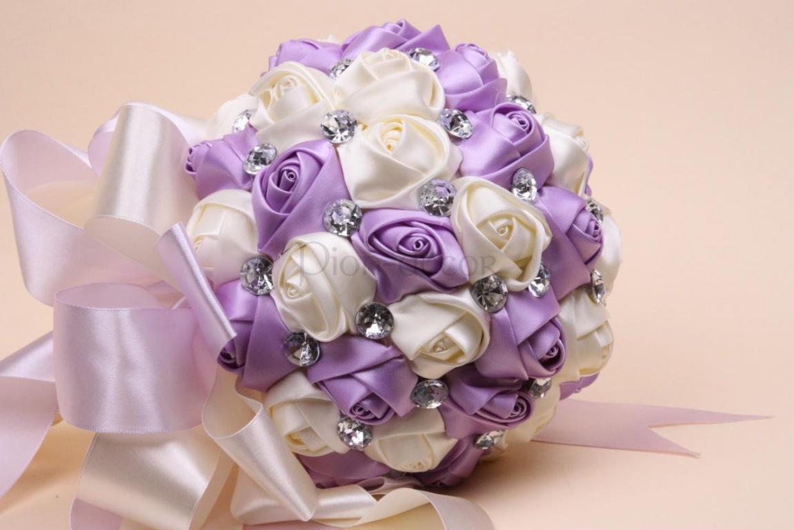 Свадебный букет из атласных лент картинки