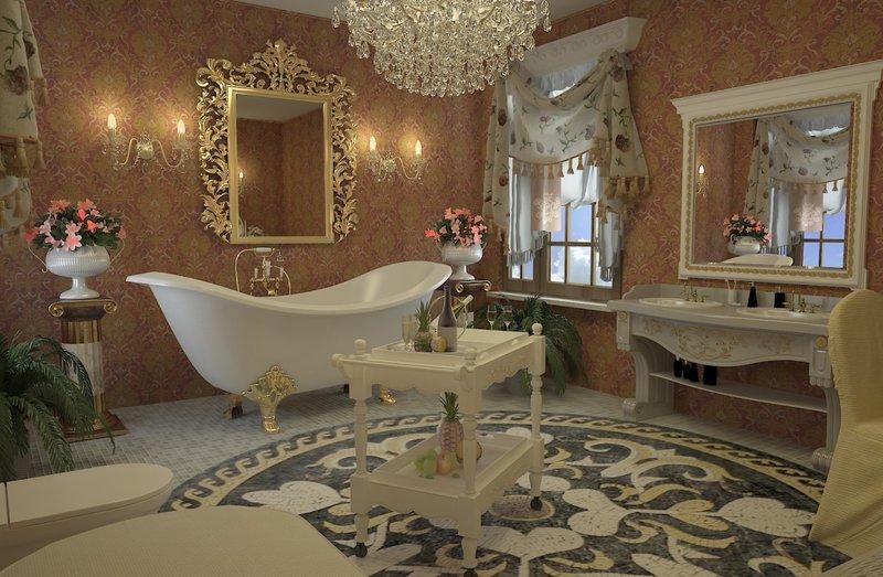 Блеск в каждой детали, позолота, небольшие скульптурные фигурки нимф или ангелочков. Прекрасно впишется большое зеркало в позолоченной раме, витые дорогие торшеры, люстры, отдельно стоящая ванна на изогнутых ножках. Сочетание золотого и белого цветов подарит комнате поистине шикарный вид.