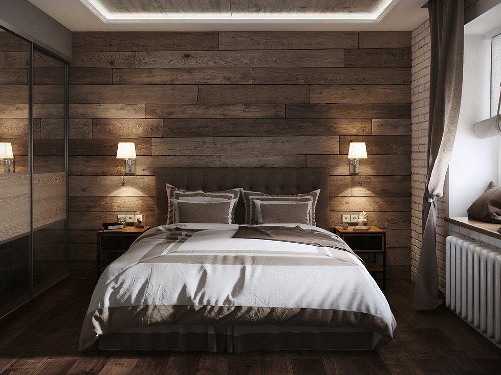 Индустриальность в стиле лофт в спальне с деревянной отделкой стены