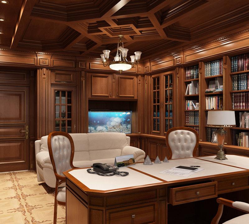 Кабинет в классическом стиле с белой мебелью