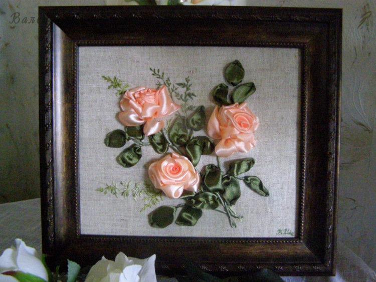 Вышивка лентами шикарные розы 464