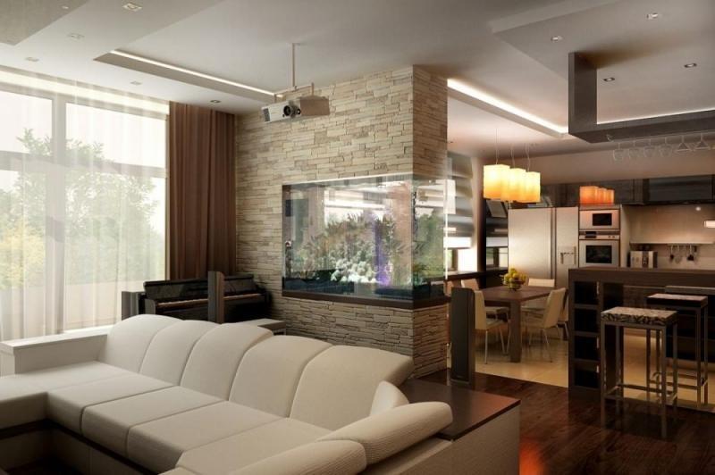 Гостиная фото дизайн с аквариумом