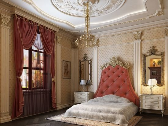 Позолота и лепнина в дизайне спальни ампир