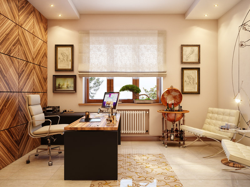 Дизайн кабинета для мужчины в светлых тонах с шторами и большим глобусом