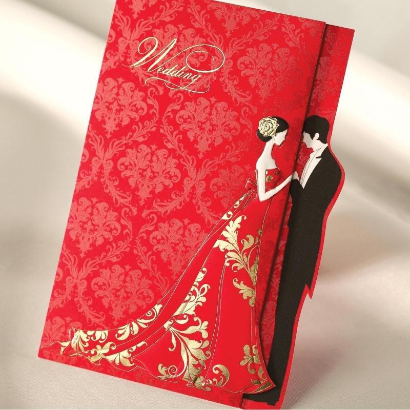 Свадебная открытка красная