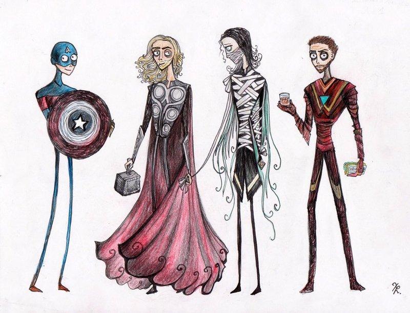 Tim Burtonned Avengers part 1 by La-Chapeliere-Folle