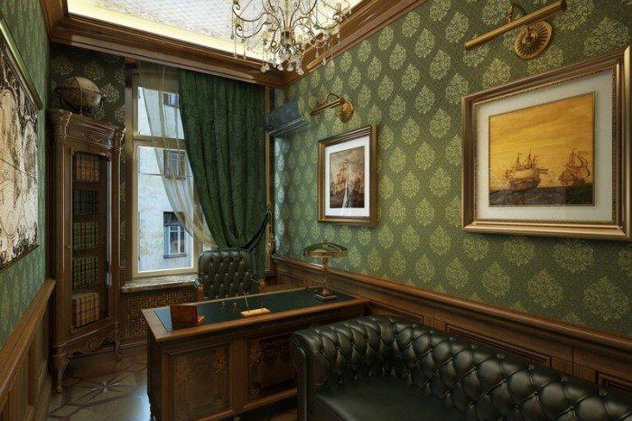 Кабинет в квартире в зеленом цвете