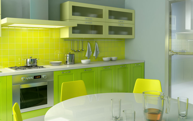 Интерьер зеленой кухни