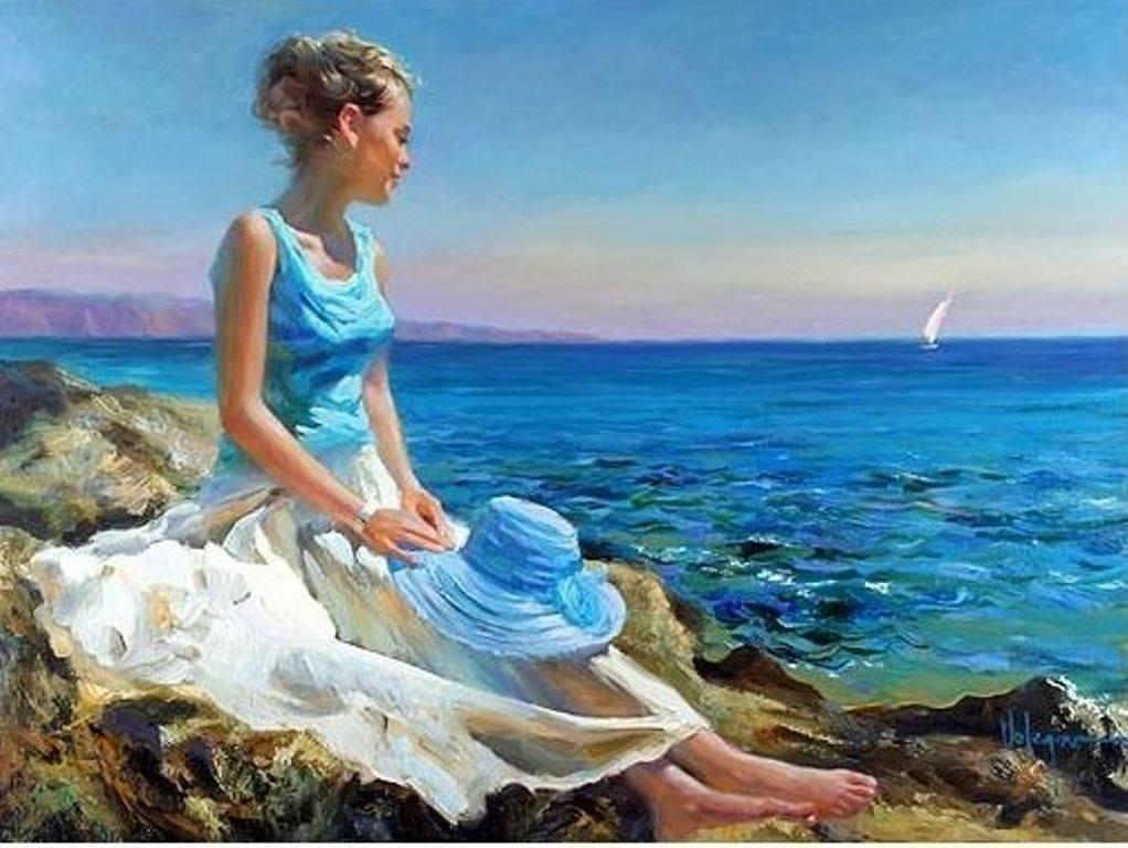 Женщина и море картинки нарисованные