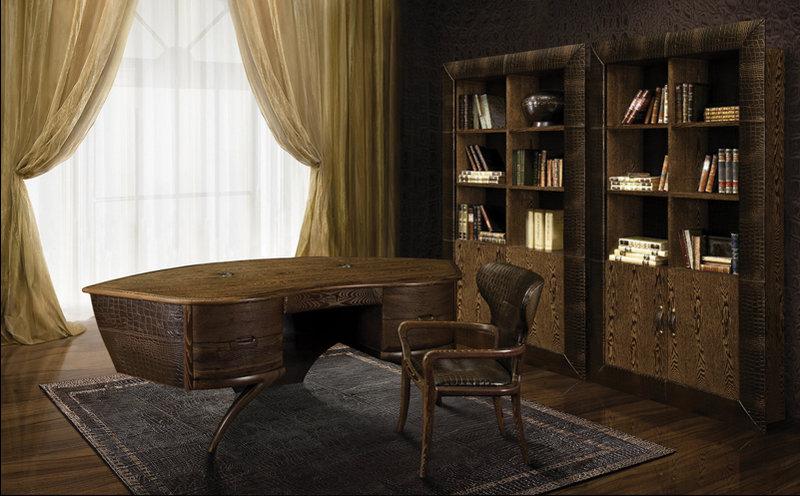 Дизайн рабочего кабинета с большими кожаными шкафами и столом