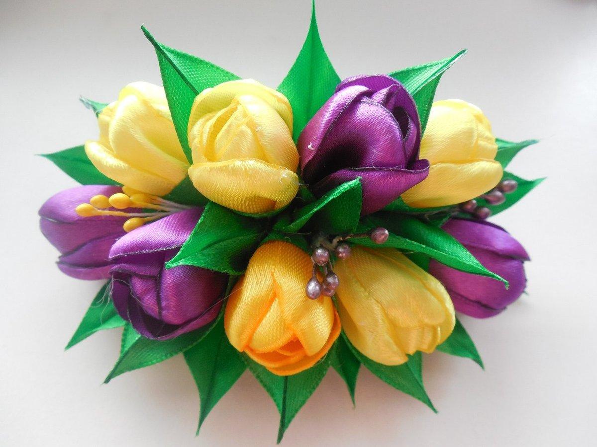Мк цветок из атласных лент