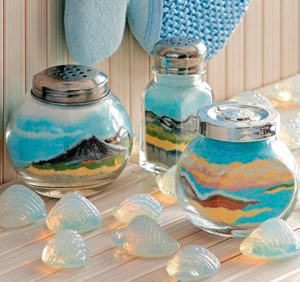 хорошим декор стеклянной бутылки цветной солью утепляющий
