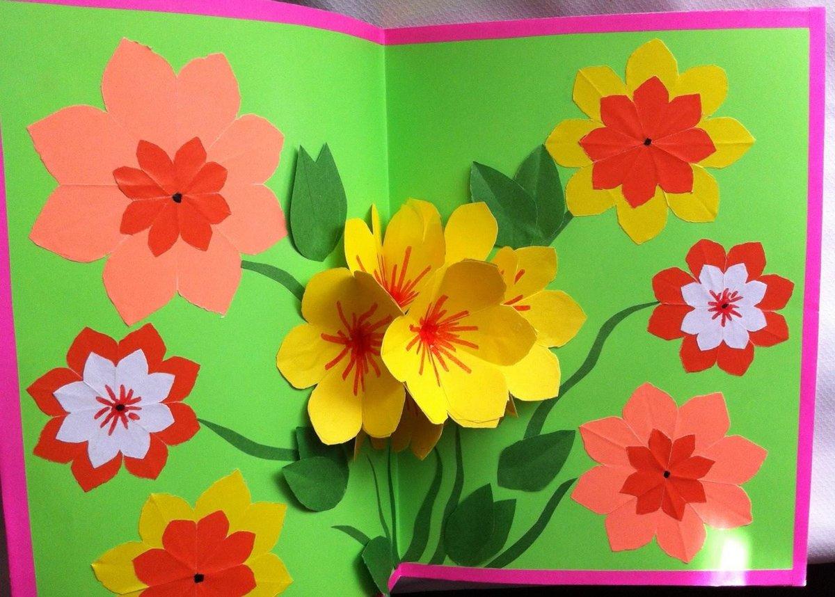 Открытка из цветов из бумаги