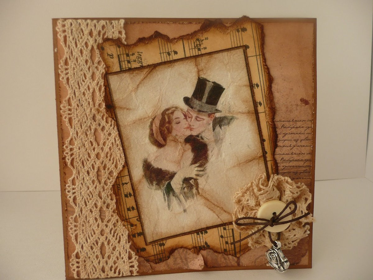 Винтажные открытки на юбилей, сделать открытку бумажных