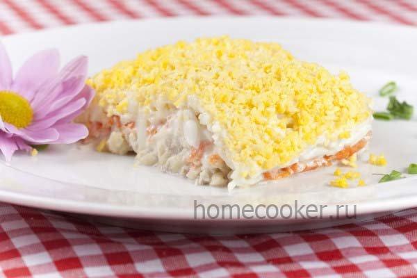 Салат мимоза с сайрой консервированной