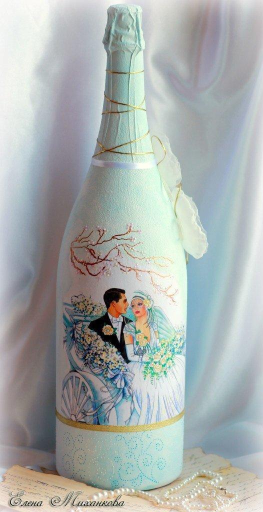 Свадебные бутылки с открытками декупаж