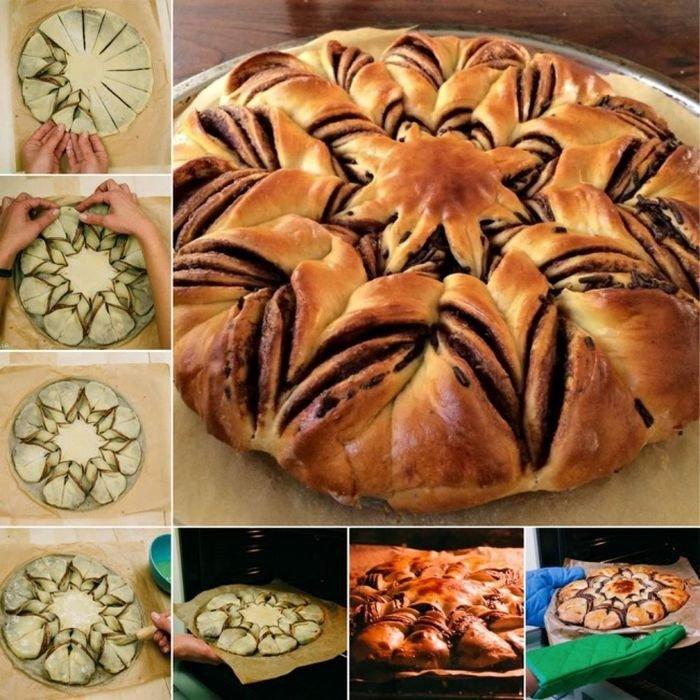 Пирог цветок с нутеллой рецепт с фото