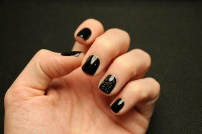 Черные короткие ногти фото