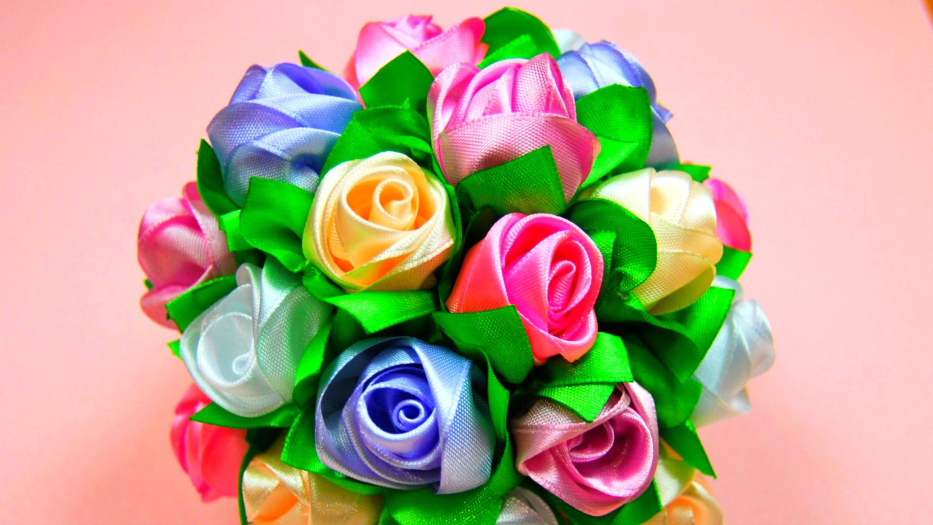 Цветы шары из лент