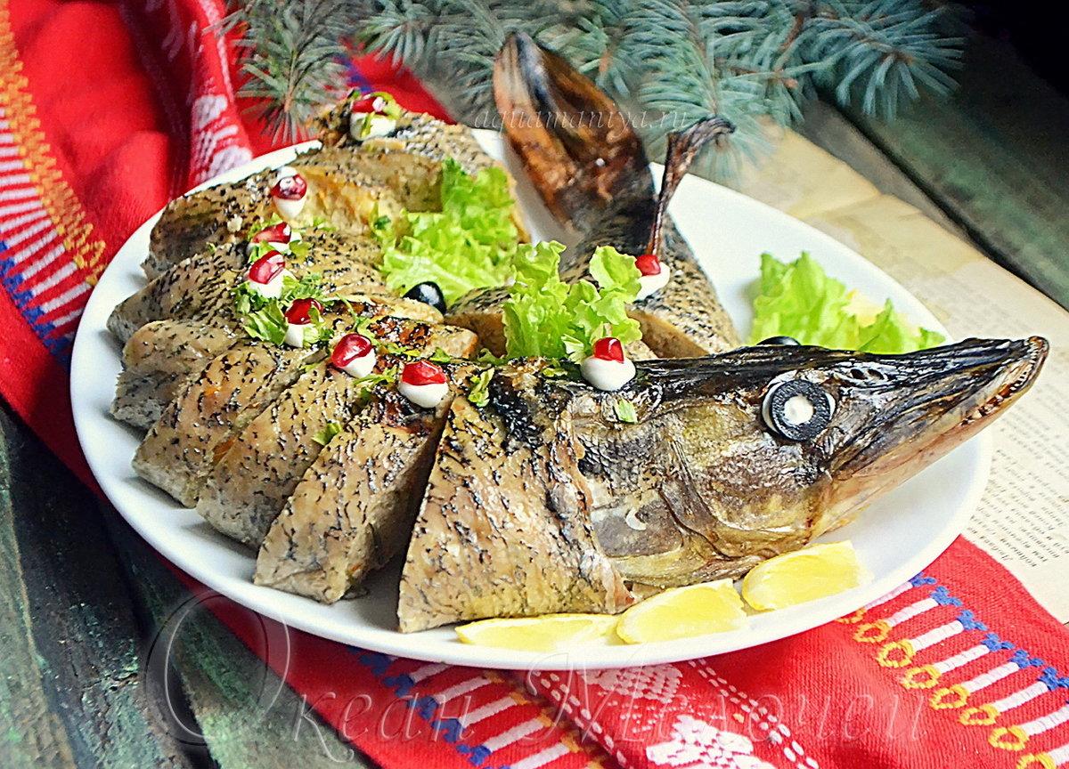 Фаршированная рыба в духовке целиком рецепт с фото