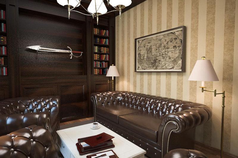 Кабинет в частном доме с огромным кожаным диваном