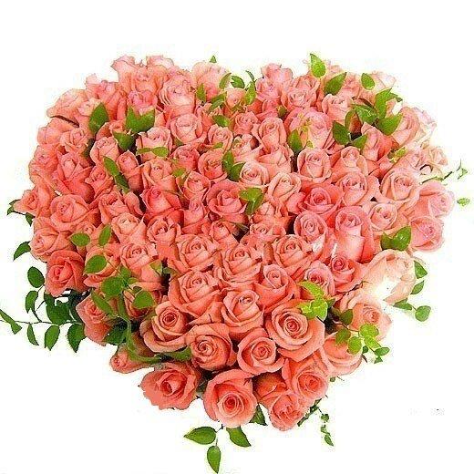 Букет цветов сердцем открытки