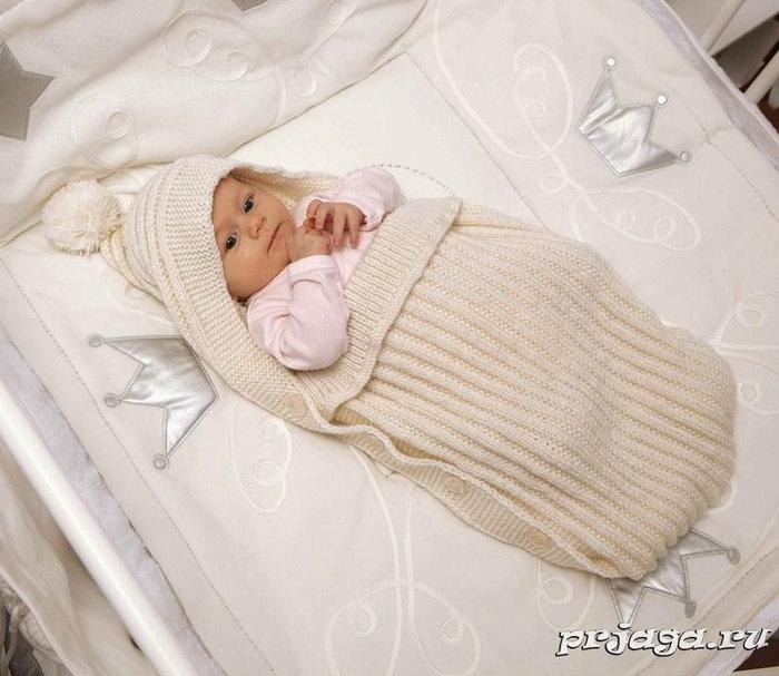 Вязка конверта для новорожденного