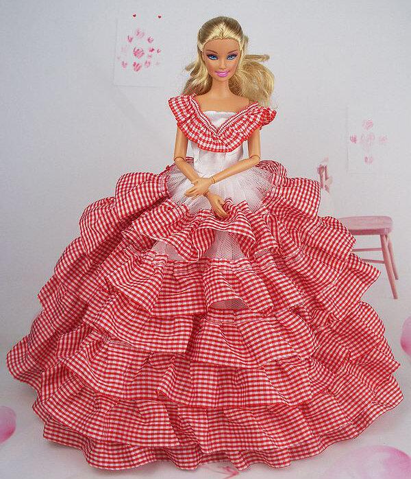 Платье для барби из ткани своими руками