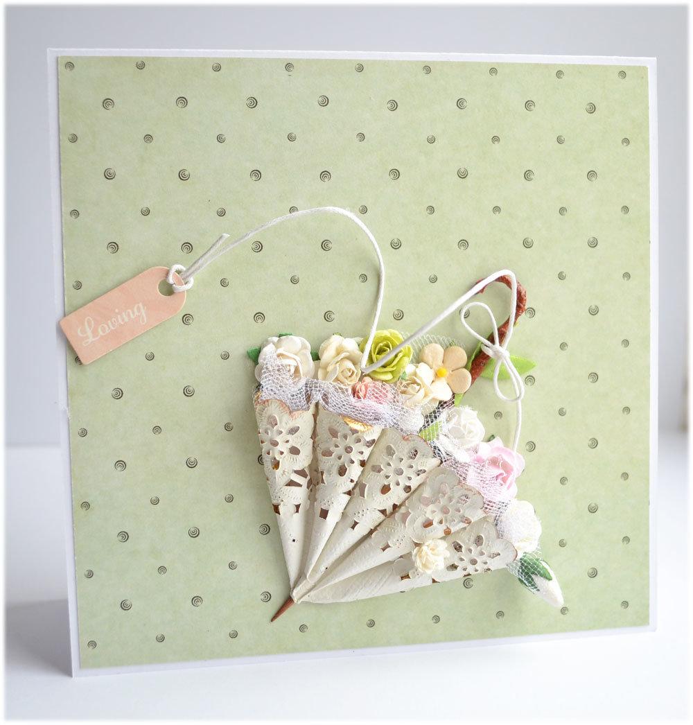 Как сделать зонтик из бумаги для открытки