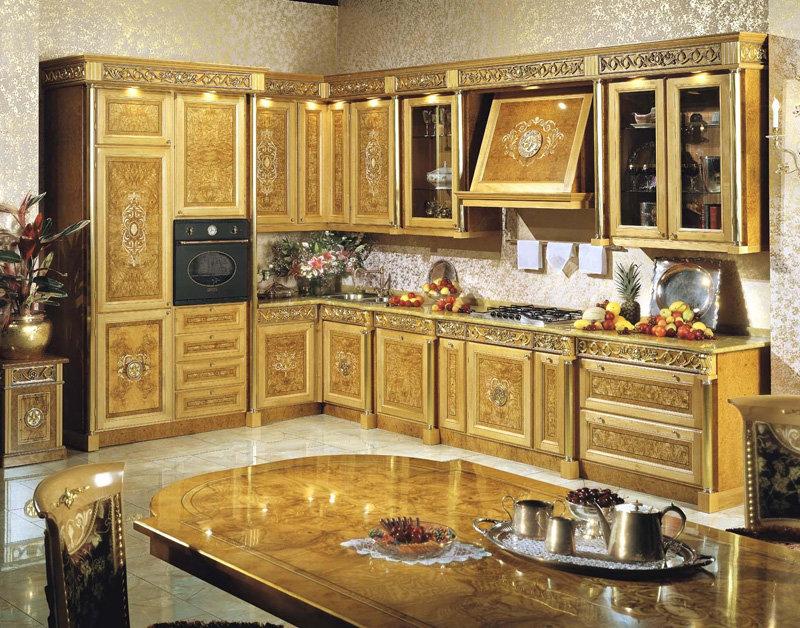 Позолоченный деревянный кухонный гарнитур