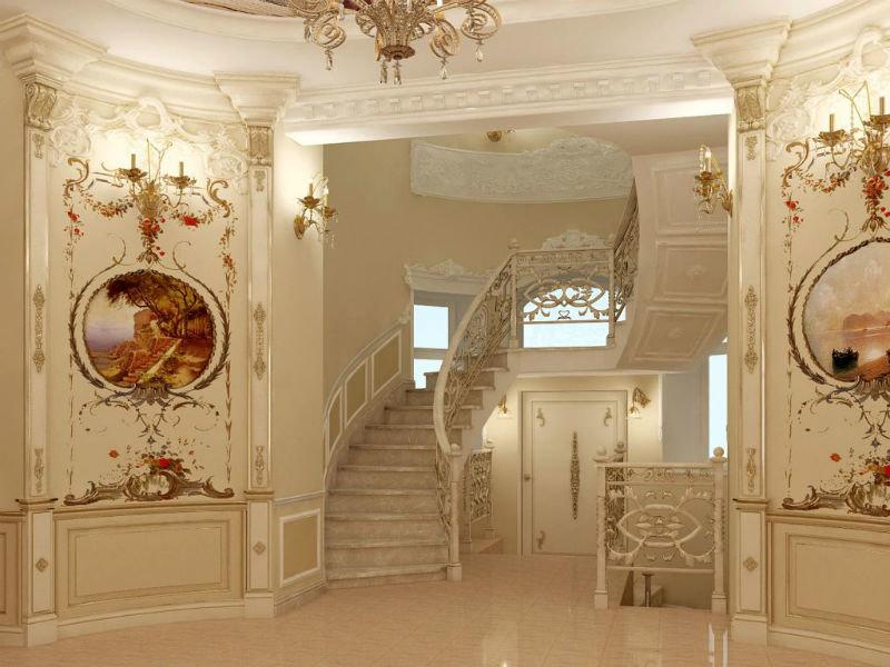 Безусловно необычный и привлекательный внешний вид фронтонов, статуй, каминных порталов и лепгигы
